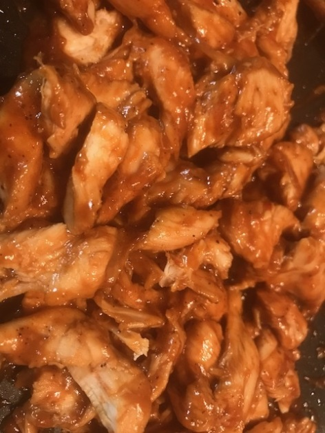 shredded saucy chicken